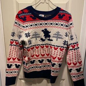 Mickey Mouse snow flake Red Blue Disney Sweater